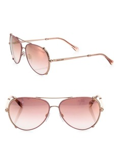Roberto Cavalli 58MM Leather-Trim Aviator Sunglasses