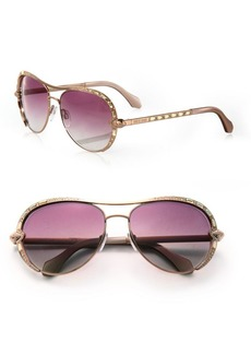 Roberto Cavalli 59MM Swarovski Crystal & Metal Aviator Sunglasses