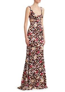 Roberto Cavalli Animal Print Cutout Gown
