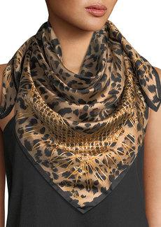 Roberto Cavalli Animal Print Silk Scarf