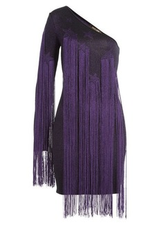 Roberto Cavalli Asymmetric Dress with Fringing