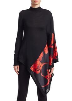Roberto Cavalli Asymmetric Wool & Silk Turtleneck Sweater