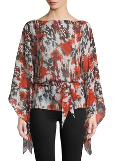 Roberto Cavalli Bateau-Neck Draped-Sleeve Belted Abstract-Print Silk Georgette Caftan Blouse