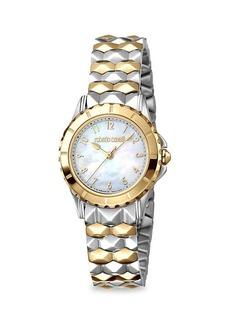 Roberto Cavalli Bi-Tone Stainless Steel & Mother-Of-Pearl Bracelet Watch