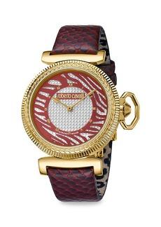 Roberto Cavalli Champagne Dial Animal Print Leather Strap Watch