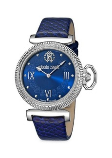Roberto Cavalli Classic Stainless Steel & Embossed Leather-Strap Watch