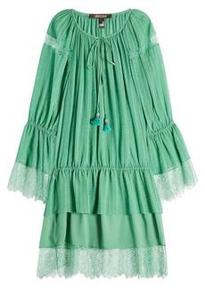 Roberto Cavalli Cotton and Silk Blend Dress with Lace Hem