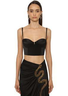 Roberto Cavalli Crepe & Stretch Viscose Bustier Top
