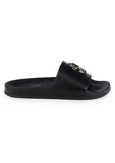 Roberto Cavalli Croc-Embossed Leather Logo Slides