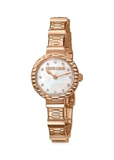 Roberto Cavalli Diamond Scala Rose Goldtone Stainless Steel Bracelet Watch