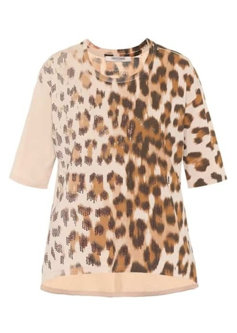 Roberto Cavalli Embellished leopard cotton T-shirt