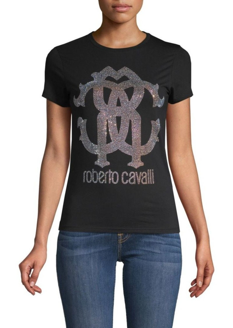 Roberto Cavalli Embellished Logo Stretch-Cotton Tee