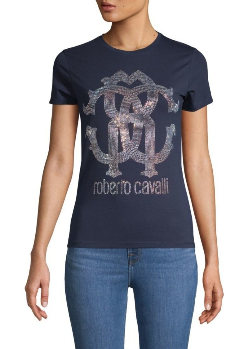 Roberto Cavalli Embellished Stretch-Cotton Tee