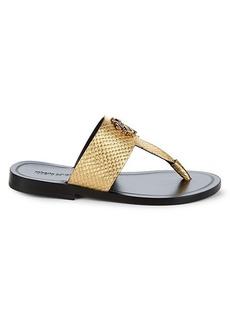 Roberto Cavalli Embossed Snakeskin-Print Leather Sandals
