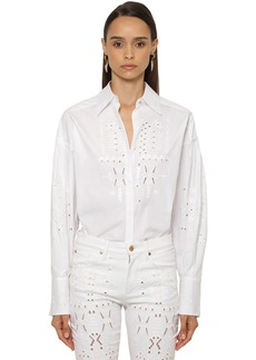Roberto Cavalli Embroidered Cotton Poplin Shirt