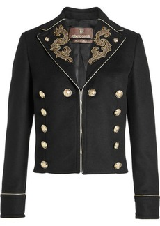 Roberto Cavalli Embroidered Jacket with Virgin Wool and Cashmere
