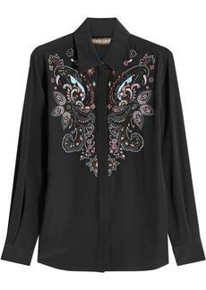 Roberto Cavalli Embroidered Silk Blouse