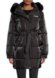 Roberto Cavalli Faux Fur-Trimmed Puffer Coat