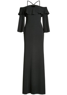Roberto Cavalli Floor Length Dress with Cut-Out Shoulders