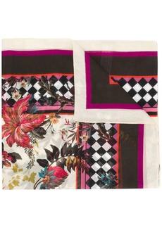 Roberto Cavalli floral checkerboard pattern scarf