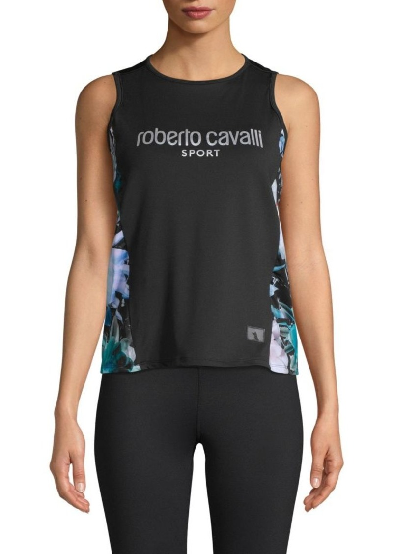 Roberto Cavalli Floral Logo Tank Top
