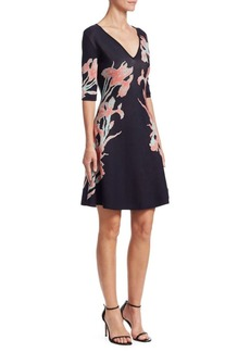 Roberto Cavalli Floral-Print Jacqaurd A-Line Dress