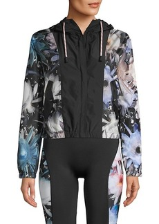 Roberto Cavalli Floral Windbreaker Hooded Jacket