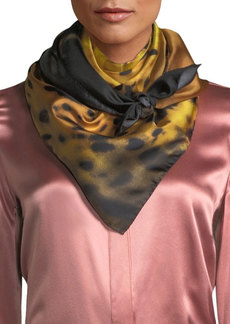 Roberto Cavalli Foulard Silk Scarf with Cheetah Design