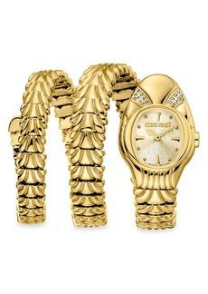 Roberto Cavalli Goldtone Stainless Steel & Diamond Snake Bracelet Wrap Watch