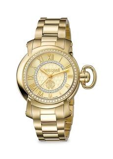 Roberto Cavalli Goldtone Stainless Steel Crystal Bracelet Watch