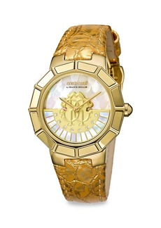 Roberto Cavalli Goldtone Stainless Steel, Mother-Of-Pearl & Crystal Leather-Strap Watch