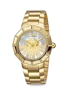 Roberto Cavalli Goldtone Stainless Steel Mother-Of-Pearl Bracelet Watch