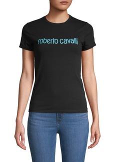 Roberto Cavalli Graphic Logo Stretch-Cotton Tee