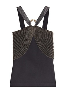 Roberto Cavalli Halter Top with Metallic Thread
