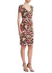 Roberto Cavalli Ikat Leopard Cady Shift Dress