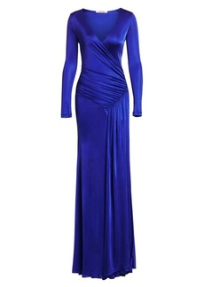 Roberto Cavalli Jersey Wrap Gown
