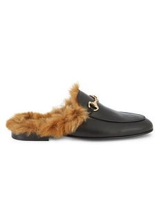 Roberto Cavalli Leather & Faux Fur Loafers