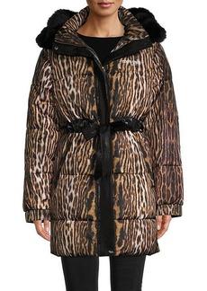 Roberto Cavalli Leopard Faux Fur-Trim Puffer Coat