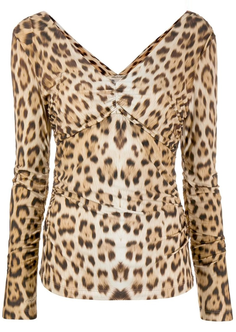 Roberto Cavalli leopard pattern ruched blouse