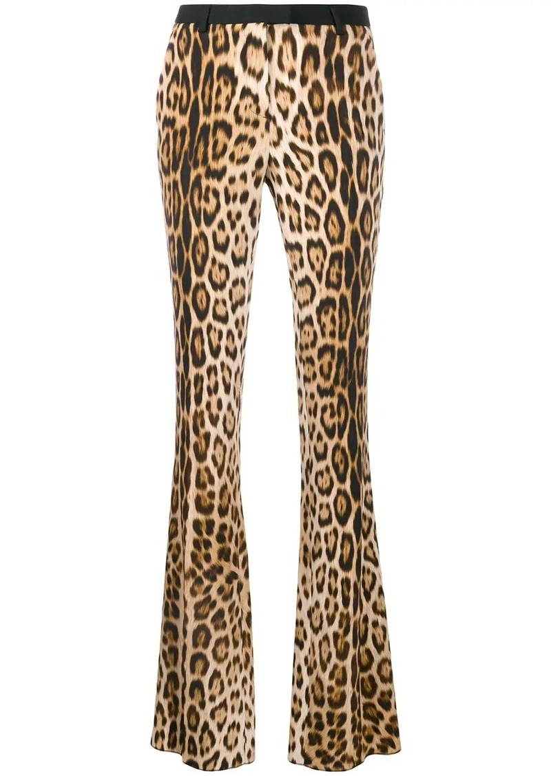 Roberto Cavalli leopard print flared trousers