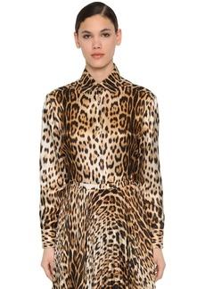 Roberto Cavalli Leopard Print Silk Twill Shirt