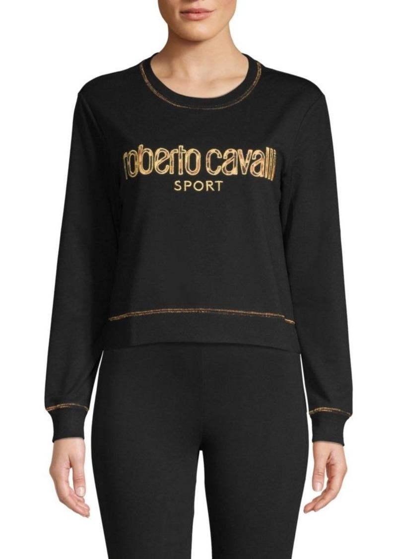 Roberto Cavalli Logo Cropped Sweatshirt