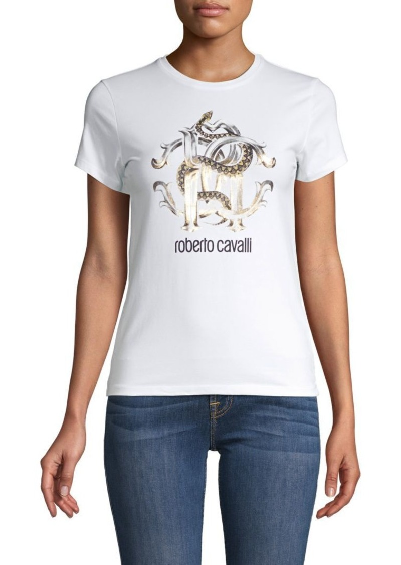 Roberto Cavalli Logo Graphic Cotton-Stretch Tee