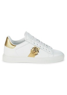 Roberto Cavalli Logo Low-Top Leather Sneakers