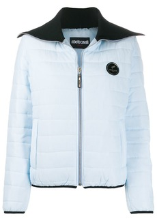 Roberto Cavalli logo patch padded jacket