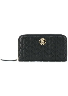 Roberto Cavalli logo quilted zip-around wallet