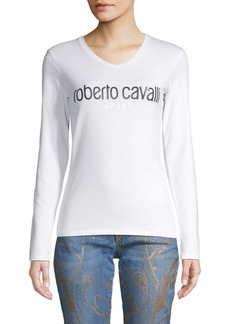 Roberto Cavalli Logo V-Neck Top