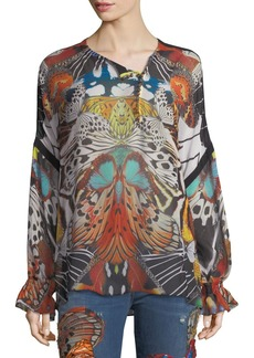 Roberto Cavalli Long-Sleeve Butterfly-Print Silk Blouse
