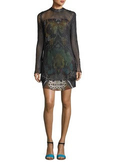Roberto Cavalli Long-Sleeve Leather Mesh Over Butterfly-Print Cocktail Dress