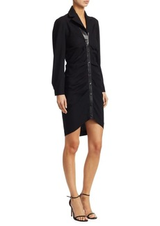 Roberto Cavalli Long-Sleeve Ruched-Front Leather Detail Dress